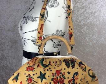 Tattoo gothic Betty frame handbag purse Alexander Henry fabric bag handmade in England
