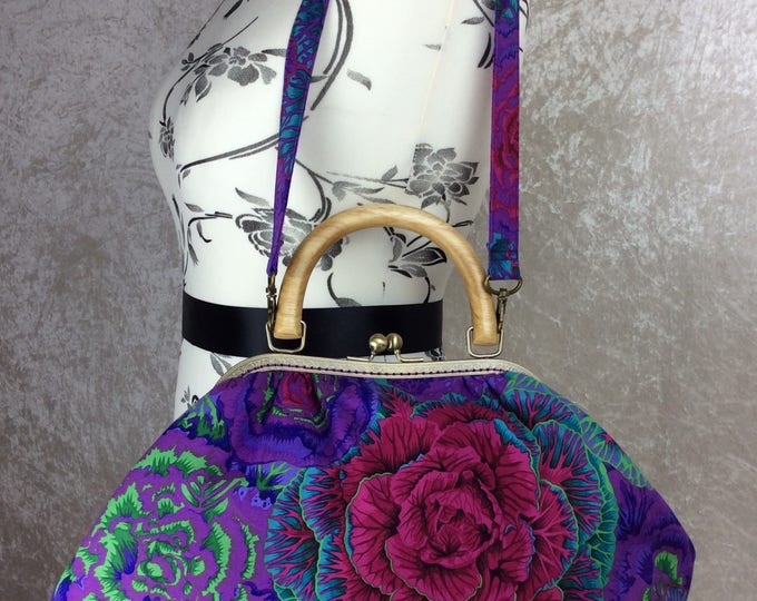 Brassica Cabbage Betty frame handbag purse  Kaffe Fassett Philip Jacobs bag handmade in England