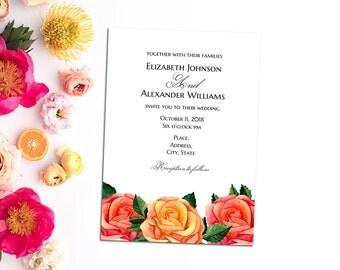 Orange wedding invitation printable Boho wedding Roses invitation card template Diy cottage chic wedding Romantic invitation Boho chic 1W40