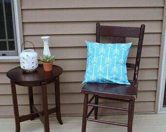 "Bright Aqua Arrows Pillow Cover, 16"" square, Premier Print Tribal Print, Envelope Closure, Instant Room Makeover Look"