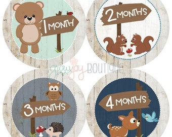 Baby Boy Monthly Stickers, Baby Girl Monthly, Woodland Animals Monthly Stickers - Woodland Baby - Milestone Stickers || Woodland boy/girl