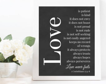 Bible Verse Print, 1 Corinthians 13 Wall Art, Love is Patient Love is Kind Print, Printable Bible Verse Art, Quotes About Love, Love Verse
