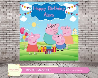 Peppa Pig Family Printable Backdrop, Peppa Pig Banner, Peppa Pig Backdrop, Peppa Pig Printable for Peppa Pig Party *DIGITAL IMAGE FILE*