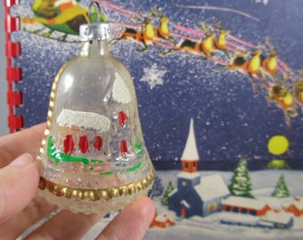 "CIJ Vintage Christmas Ornament Church Bell ""West Germany"" Plastic Bulb Decoration Mica Snow Covered Chapel Winter Decor Art Gift"