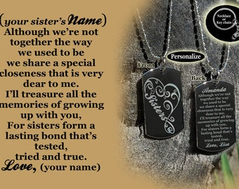 Sisters Dog tag Necklace or Key Chain + FREE ENGRAVING