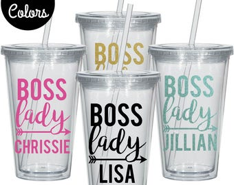 Boss Lady Tumbler, Gift for Boss, Gift for Best Friend, Personalized Tumbler, Custom Tumbler, Tumbler With Straw, Boat Tumbler