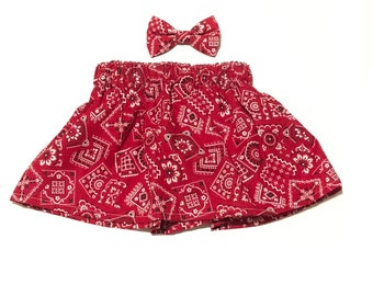 Red Bandana Skirt, Country, Baby Clothing, Girls Clothes, Girls Clothing