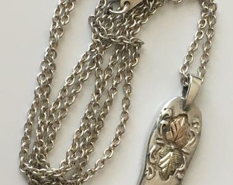 Sterling Silver Cowboy boot pendant and necklace, Southwestern necklace, 925 vintage necklace