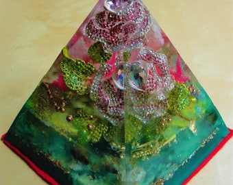 """Floral Cosmos 6 x 5.5"""" Metaphysical Glow in the Dark Orgone Pyramid (150 x 130mm) Crystal Energy Chakras"""