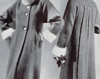 1930s Knitting Patterns - Women's Swagger Coat  - Downloadable PDF - 30s retro