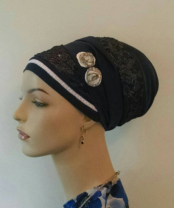 Navy blue elegance with accent, sinar tichel, tichels, head scarves, chemo scarves, hair snoods