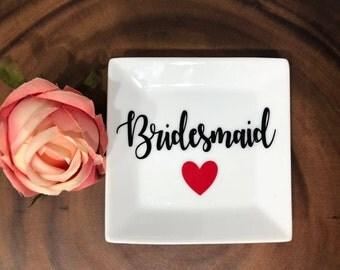 Bridesmaid Large Ring Dish- Ring Dish for Bridesmaid- Wedding Party Gift- Will You Be My Bridesmaid?- Bridal Party Gift- Personalized Dish