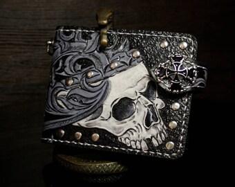 Hand-tooled biker wallet, carved wallet, mens wallet, tooled wallet,  biker wallet with skull, leather walet,  skull wallet, custom wallet