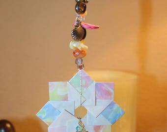 Origami Feather Paper Ring With Shells Hanging Ornament