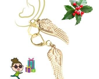 Gold Angel Wings Earrings, Caring Gift, Gold Drop Earrings, Girlfriend Gift, Unique Gold earrings, Angel Earrings Gift, Free Local Shipping