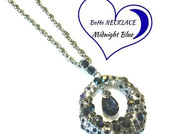 Midnight Blue BoHo Necklace, Stunning Long Necklace, On Trend Statement Gift, Designer Pendant, Girlfriend Gift, BoHo Stunning Gift,