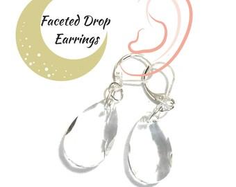 Faceted Clear Glass Earrings, Shimmering Glass Earrings, On Trend Earring, Pretty Silver Party Earring, Student Gift,