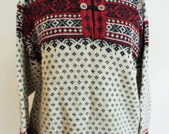 Vintage Norwegian Sweater / Norway wool / Women / Men / Buttons / M / Medium / Nordic / Scandinavian / Pullover / White / Black / Red /