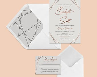 Foiled Geometric Wedding Invitation RSVP Save The Date Rose Gold Silver