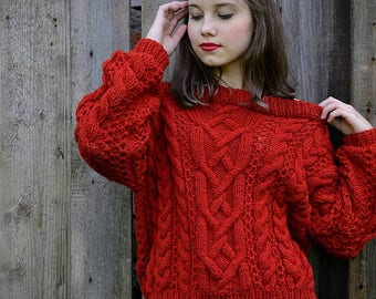 Wool sweater Women's sweater Hand knitted sweater Hand knitting sweater Oversized sweater Womens sweater Cozy sweater Gift for her Knitwear