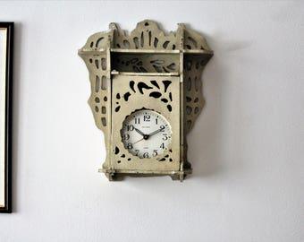 Display Shelf - Shabby Shelf - Clock Shelf - Ornate Wall Shelf - Vintage Rustic Shelf - Display Box - Display Cabinet - Curio Cabinet