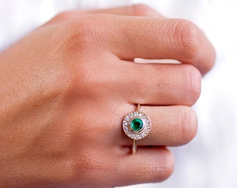Emerald Engagement Ring, Emerald Ring, Gold Engagement Ring, Halo Engagement Ring, Gold Emerald Ring, Diamond Ring, Halo Diamond Ring GR0395