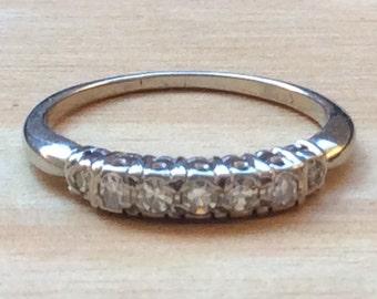 SALE Vintage 1950s Diamond Wedding Band .25ctw 18kt White Gold Ring Sz 6.5 Genuine Authentic Vintage Jewelry Genuine Diamonds Wholesale A268