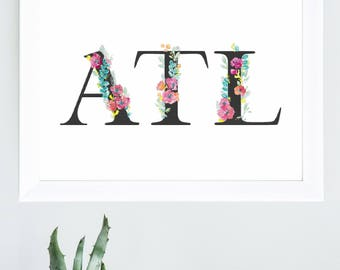 ATL Floral Wreath Print- Watercolor Background in Black, White or Peach
