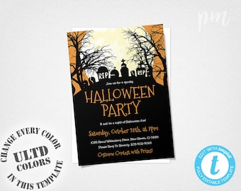 Halloween Invitation, Halloween Party Invitation, Orange and Black Printable Halloween Invite, Costume Party, Halloween Printable Invite