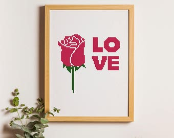 Rose Love cross stitch pattern,PDF instant download, Home wall decor, Neddlework #43