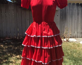 Vintage 1950s/1960s Red & White Polka Dot Tiered Ruffle Dress XS/S
