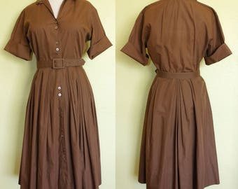 1950s Dress- Chocolate Brown Cotton- Pleated- Circle Skirt- Day Dress- Button Down.