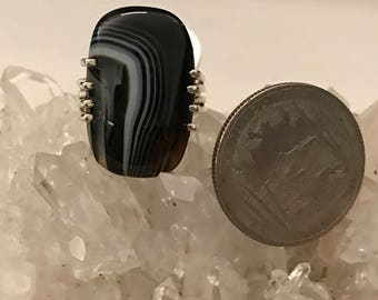 Black Banded Onyx Ring Size 9