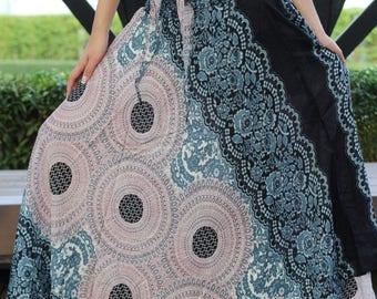 Boho Maxi Skirt Bohemian Long Skirt Beach Wear flower bloom Grey One Size Fits