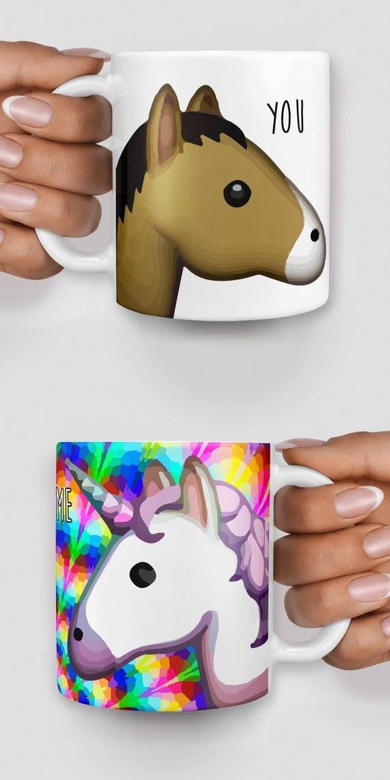 Rainbow unicorn and horse you and me emoji mug - Christmas mug - Funny mug - Rude mug - Mug cup 4P088