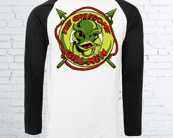 The Gruesome Gill-men Baseball Shirt - Halloween Horror Shirt Universal Monsters Creature from The Black Lagoon Gillman Halloween Clothing
