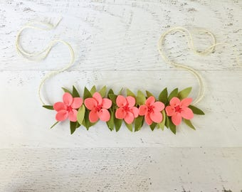 Moana Birthday Flower Crown, Moana Headband, Moana Party, Toddler Girls Flower Crown, Moana Costume, Moana Flower Crown Headband, Tieback