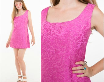 KITSCH BARBIE / 1960s Hot Pink Shift Dress / Silk Brocade / Size S
