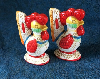Vintage Lego Rooster Salt and Pepper Shakers, Collectible Kitchen Roosters