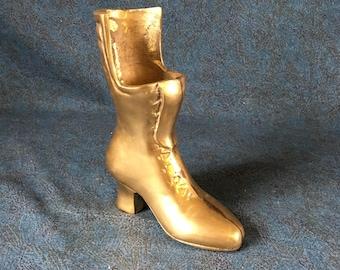 Vintage Solid Brass Victorian Ladies Boot