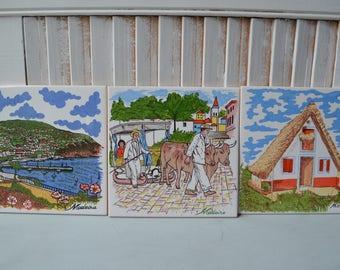 Portugal Tiles, decorative tiles, Madeira, set of three, Portugese decor, coastal decor, wall decor, trivet