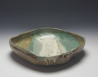 Handmade large serving bowl by Potteryi. Squared fruit bowl in organic shape in natural brown and celadon.