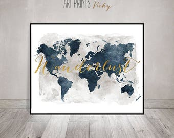 Large world map travel map world map wall art world map wanderlust world map watercolor print world map poster travel map gift gumiabroncs Choice Image