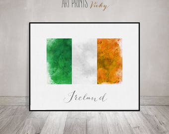 Ireland flag print, art poster, watercolor, Wall art, Ireland art, watercolor flag, typography, office decor, Home Decor, ArtPrintsVicky
