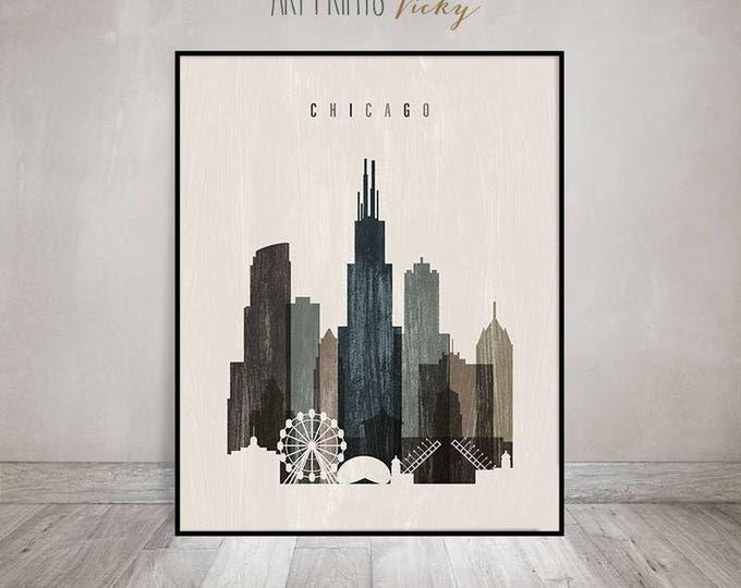 Chicago skyline art print, poster, Travel decor, wall art, distressed, Illinois, City poster, Typography art, Home Decor, ArtPrintsVicky.