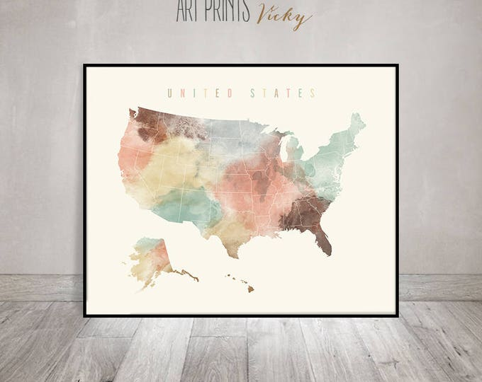 United States map print, travel map, United States map poster, Large Travel, USA map watercolor, home decor, Travel Gift, ArtPrintsVicky.