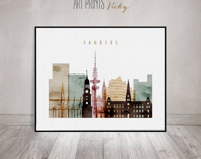 Hamburg watercolor print, watercolor poster, wall art, wall decor, Hamburg skyline, city poster, travel, Gift, home decor, ArtPrintsVicky