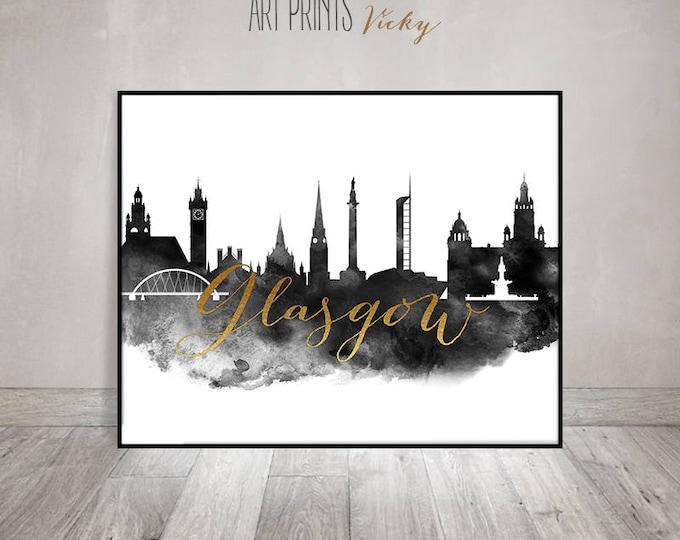 Glasgow print, Black and white Poster, Skyline Watercolor art, Travel, Wall art, Scotland cityscape, Home Decor, Gift, ArtPrintsVicky