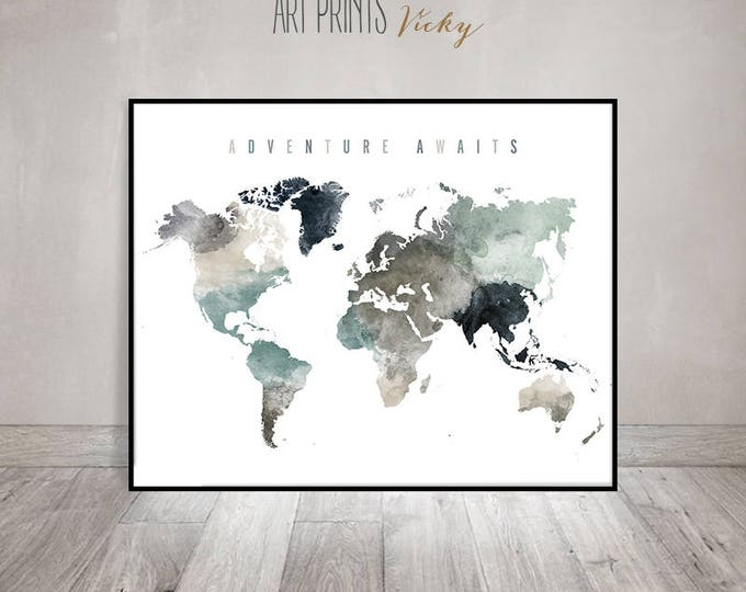 adventure awaits world map wall art print | ArtPrintsVicky.com