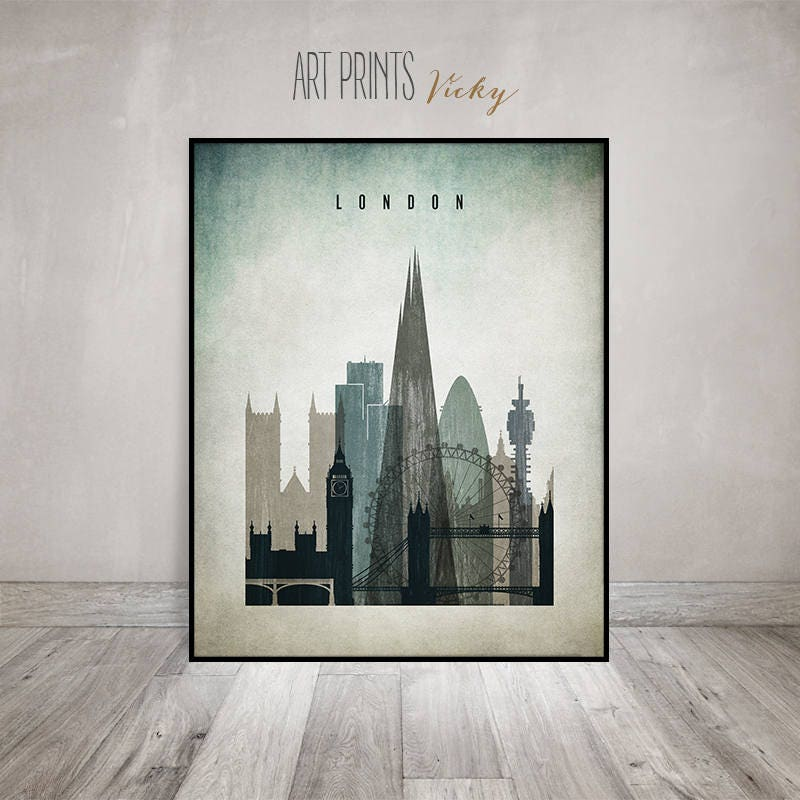 London Poster Art Print, London Wall Art London Skyline,distressed Art,  Typography Art, Travel Gift, Home Decor, ArtPrintsVicky.